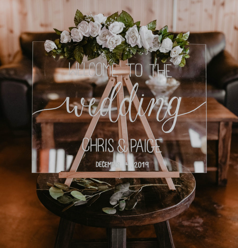 Hand written calligraphy wedding welcome sign