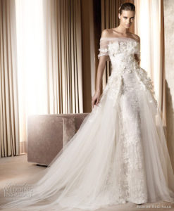 Woman in floral wedding gown
