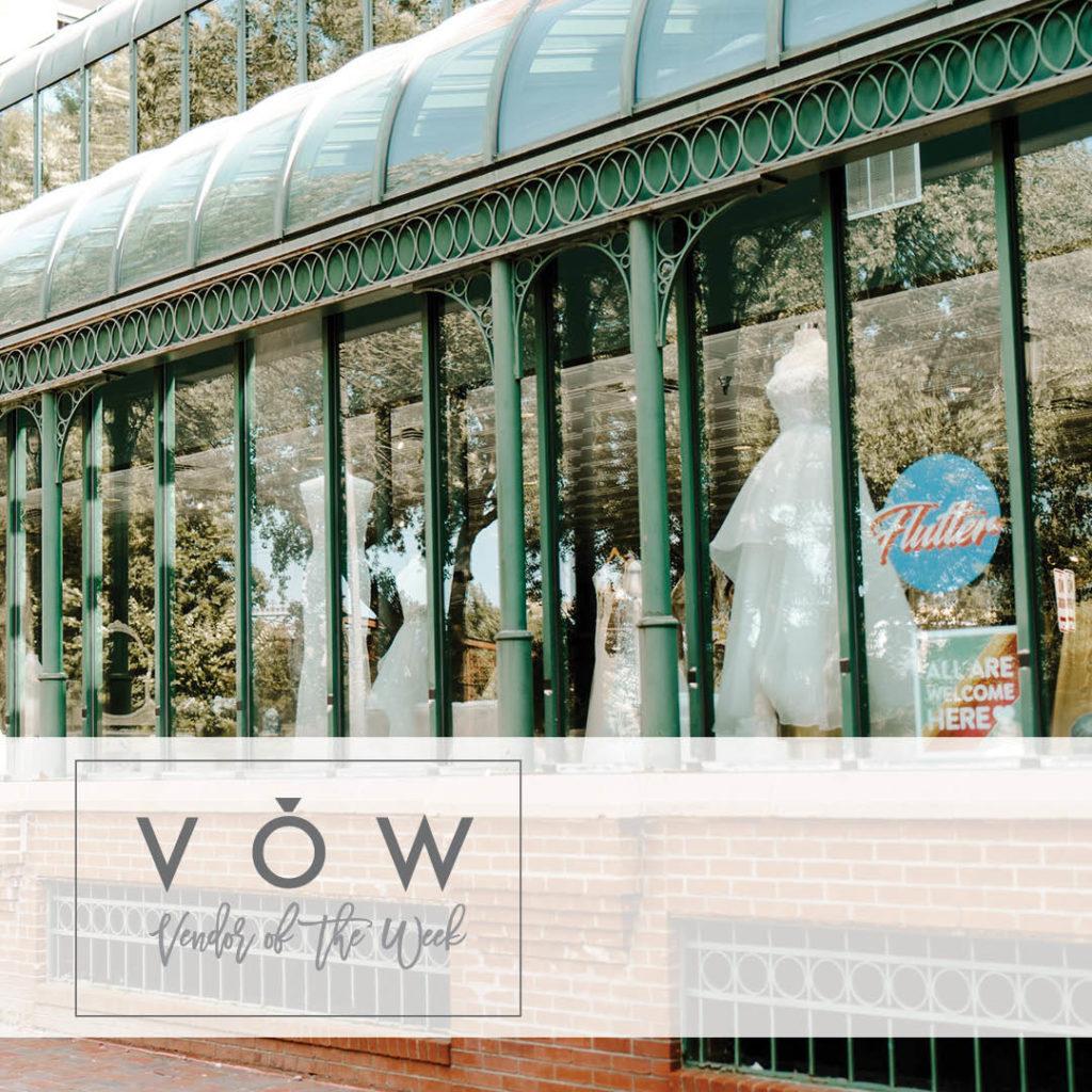 Wedding dresses in store front window