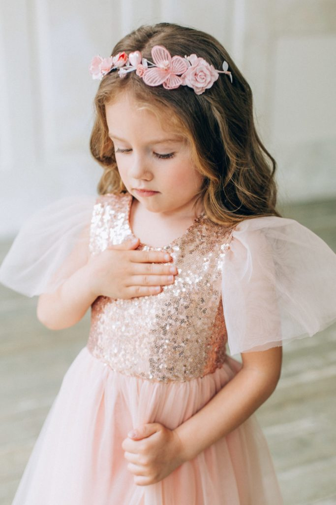 Flower girl in sparkly pink dress