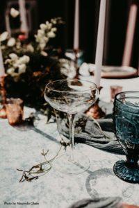 Coupe martini glass on wedding table