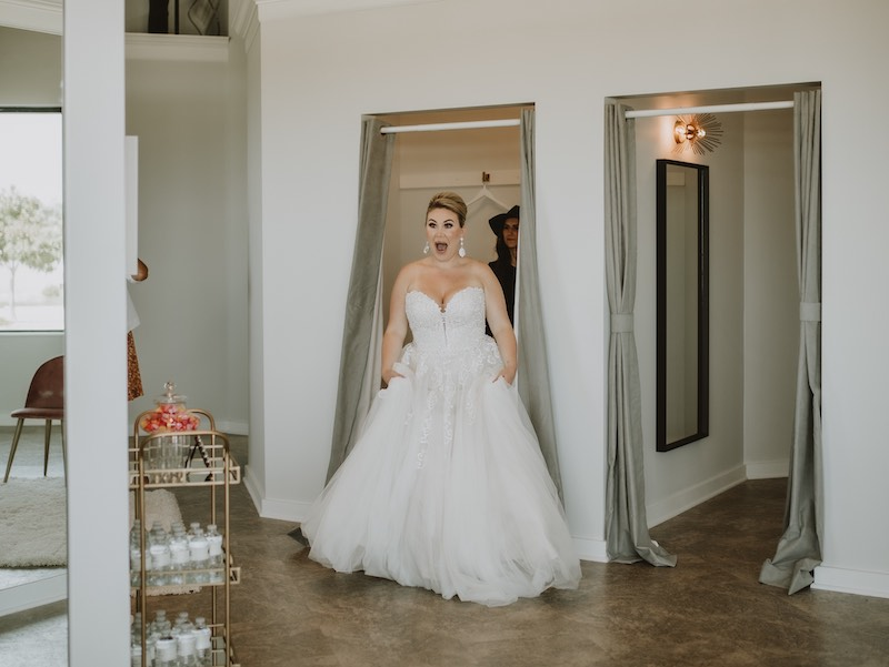 Bride finds her wedding gown at Luxe Bridal