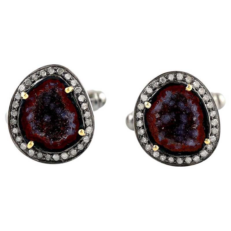 Geode and diamond cuff links
