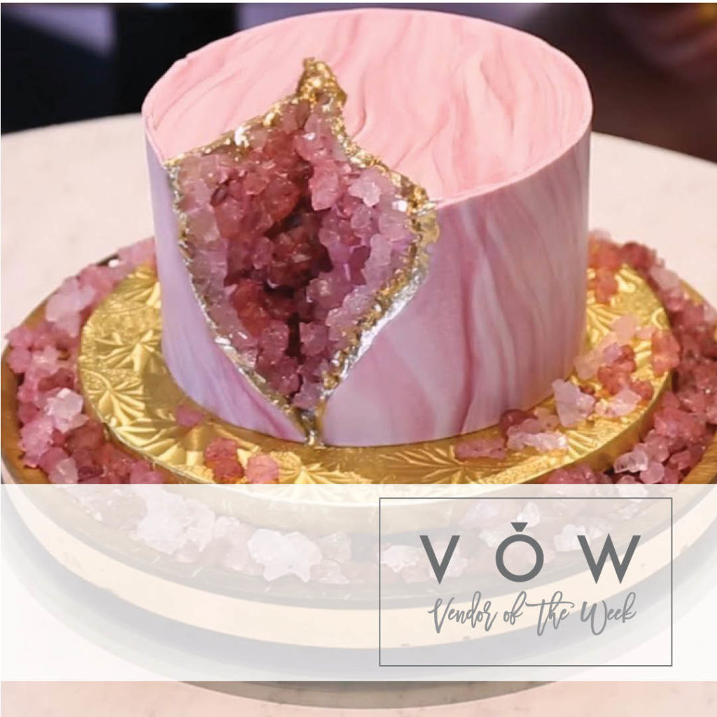 Pink geode cake for wedding