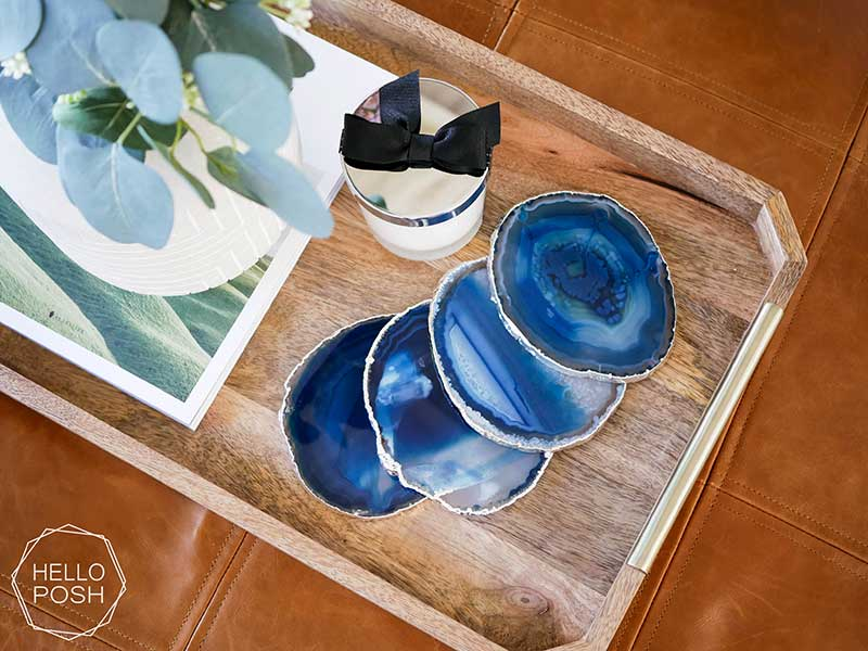 Blue geode coasters on table