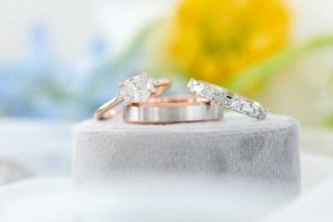 Rose gold wedding ring and band together