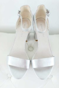Silver bridal shoes with strap