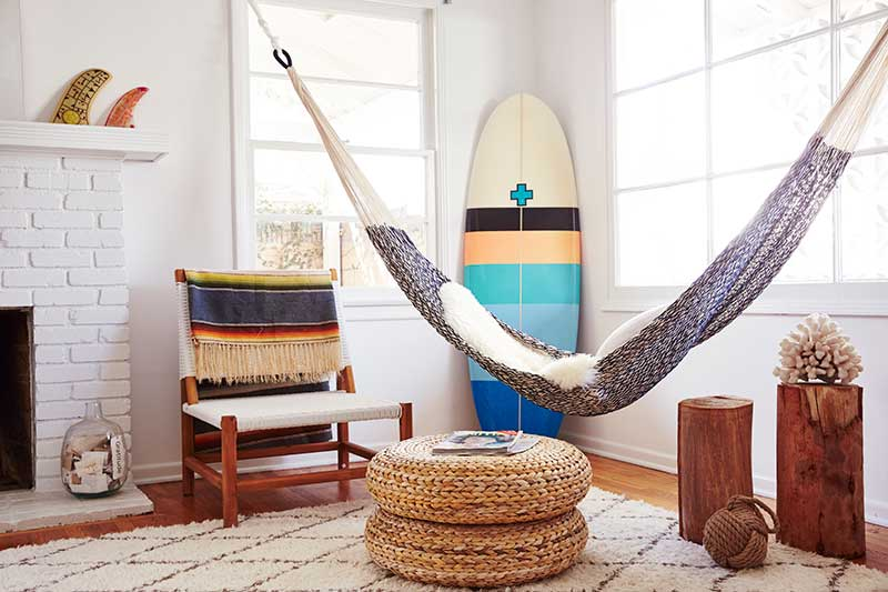 Hammock hanging in living space