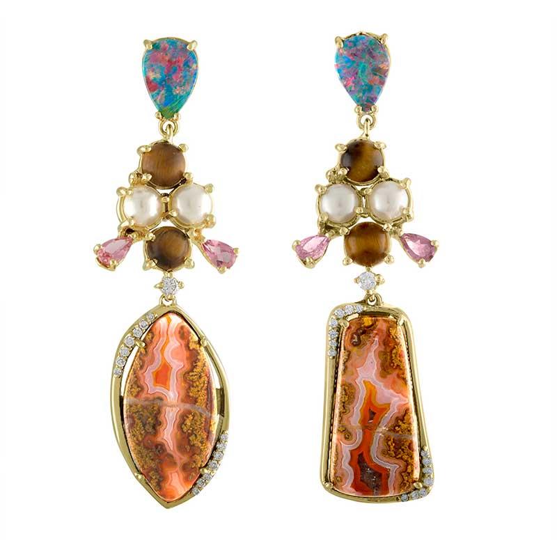 tiger eye geode earrings