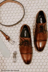 Groom brown shoes with watch and belt for wedding day