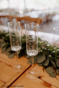 Modern Mr. and Mrs. champagne glasses