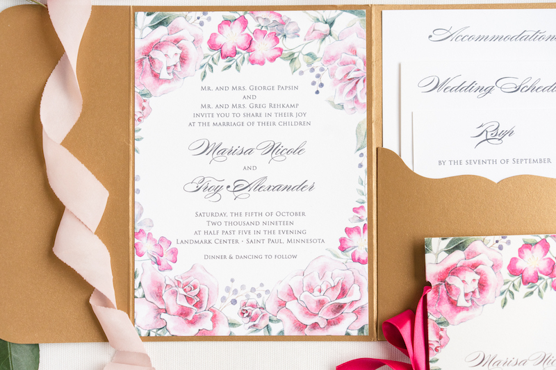 Floral pink and white wedding invitation from Epitome Papers